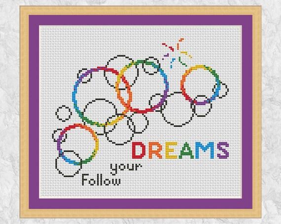 Bubbles Cross Stitch Pattern Rainbow Easy Modern Chart