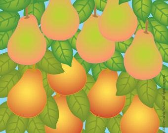 PEARS Fruit ART PRINT-Pears Archival Print-Pear Print-Orchard Print-Fruit Tree Print-Square Fruit Art Print-Fruit Art-Made in Canada