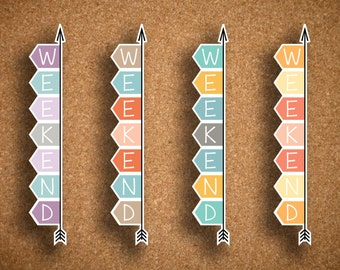 Vertical Weekend Banner Planner Stickers for Inkwell Press Planner a5 FLEX & Bound FLEX IWP-HWB2
