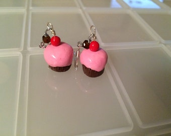 Miniature polymer clay cupcake earrings!