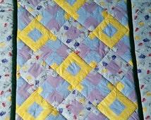Butterfly Quilt, Dragonfly Quilt, Dragonflies Quilt, Peony Flower Quilt, Baby Girl Quilt, Little Girls Quilt, Blue Quilt, Dreamland Quilt