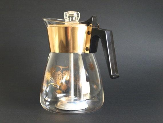Vintage coffee pot percolator copper tone futurama mid century modern