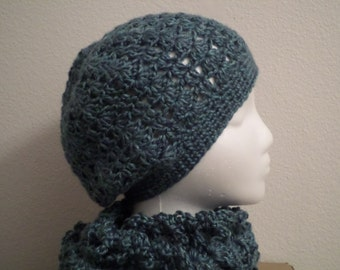 Sea-Green Beanie and Matching Scarf