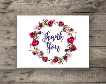 INSTANT DOWNLOAD - Pink Red Rose Peony Floral Wedding Thank You Card Printable Boho Chic Wedding Thank You Cards Bohemian