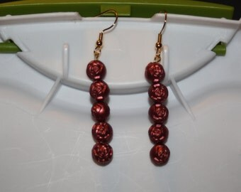 Beaded Rose Earrings