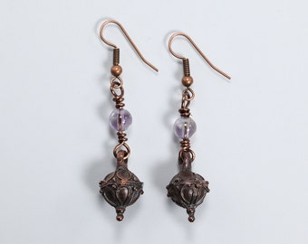 Amethyst and Antique Copper Earrings