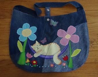 UniCat Bag - hand painted denim purse - recycled denim tote