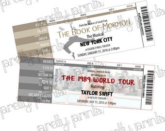 PRINTABLE Sheet of Custom Mock Event Admission Ticket for Gift Giving