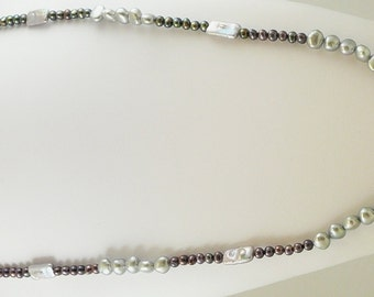 Freshwater Black and Gray Pearl 5-8mm Necklace 46 Inches