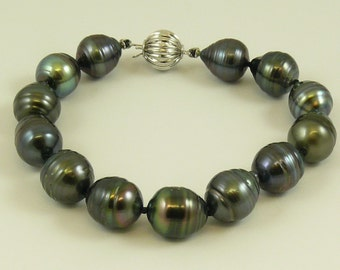 "Tahitian Black 10.4 mm - 11 mm Pearl Bracelet 14K White Gold Clasp, 7 1/2"" Long"