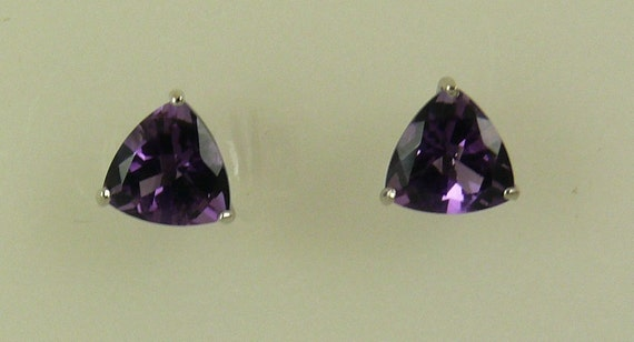 Purple Amethyst 2.2ct Stud Earrings with 14K White Gold Post and Push Backs