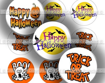 Digital Bottle Cap Collage Sheet - Halloween 28 - 1 Inch Circles Digital Images for Bottlecaps