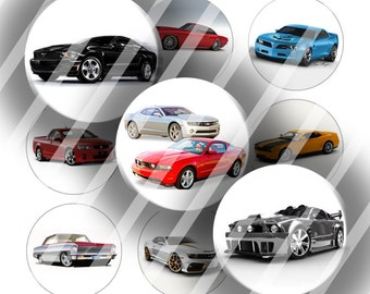 "Digital Bottle Cap Collage Sheet - Muscle Cars - 1"" Digital Bottle Cap Images"