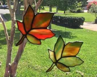 Fall leaves, Stained Glass, Suncatchers, Autumn, Red, Orange, Green, Yellow
