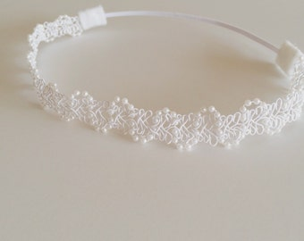 Pearl + lace luxe baby headband toddler kids newborn wedding special occasion