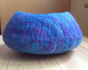 Blue/Purple Mix Wet-Felted Bowl