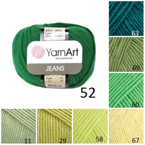 Knitting Pattern Using Cotton Yarn : YarnArt JEANS green pattern yarn knit cotton yarn crochet