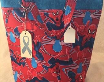 Homemade Spiderman Large Reusable Tote Bag