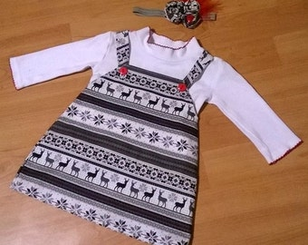 Christmas/Winter/Holiday Jumper Dress and Matching Headband (DISCOUNTED PRICE)