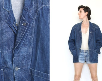 Vintage Denim / Jean Jacket- Embroidered Blazer- Indigo, Double Lapel, Geometric Maze