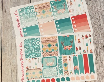 Boho Chic Themed Planner Stickers -- Made to fit Vertical Layout
