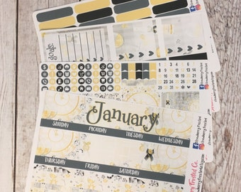 January (New Years)---- Monthly Planner Kit ---- {Includes 160+ Stickers}