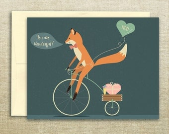 Bicycle Riding Fox Mother's Day Card- Fox Card, Mother's Day Card Set, Floral, Chocolate, Card for Mom