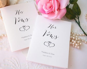 Vow Books, Custom His and Hers Vows Books, Script Heart Wedding Vow Booklets  - Set of 2