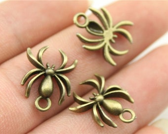 10 Spider Charms, Antique Bronze Plated Charms (1E-4)