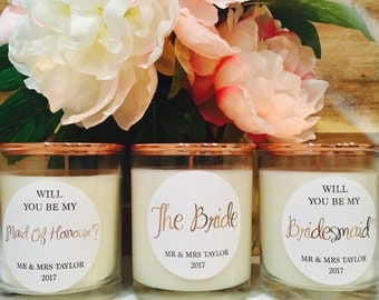 Custom Gold or Copper Wedding Bridesmaid Gift Set of Three Scented Soy Candles Style #1   Bridesmaid Gifts   Wedding Decor   Rustic Wedding