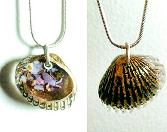 Cast bronze and resin shell necklace