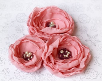 Ready to ship,3 Pcs Handmade organza flowers,light pink,Headband Supply,Accessories woman Flower Brooch ,Wedding Table Decor,And so on