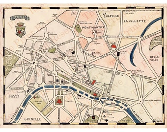 Paris Printable Instant Digital Download Hand Drawn Painted Antique Map Pen and Watercolor Print
