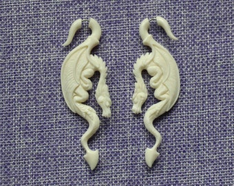 "Fake Gauge Earrings, ""Dragon (wh)"" Bone, Naturally Organic, Hand Carved, Tribal Earrings"