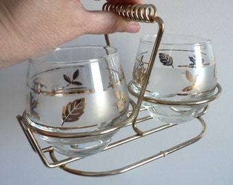 Mid Century Modern Libbey's Gold Leaf Frosted Glass Sugar Bowl and Creamer With Caddy - Golden Foliage - Retro Kitchen - 50's