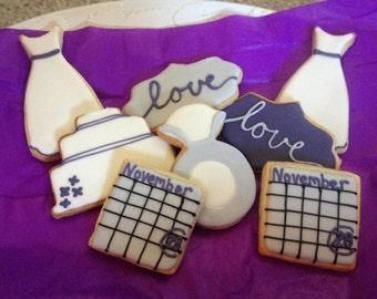 Wedding Shower or Wedding Decorated Sugar Cookies