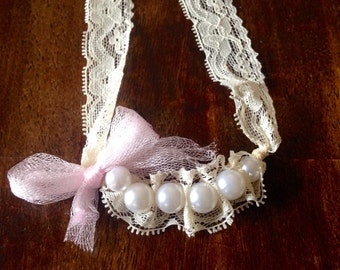 Lace and pearls baby/toddler necklace