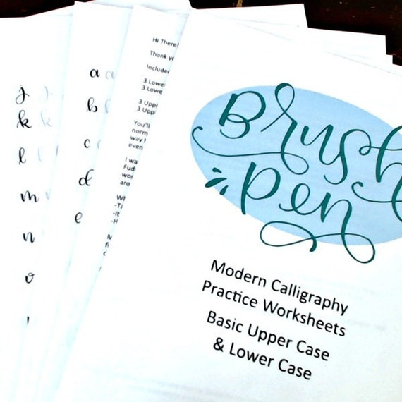 Brush pen modern calligraphy practice worksheet by