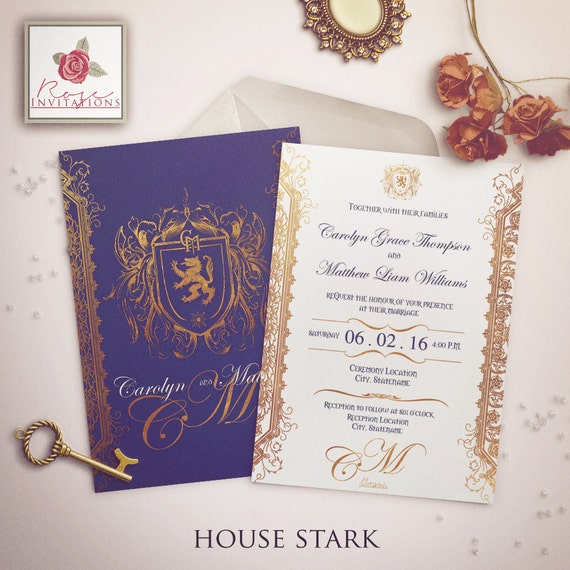 House Stark Wedding Invitation Game Of Thrones