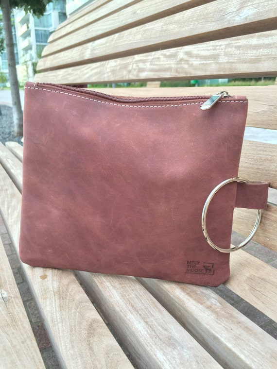 Reddish brown leather clutch, Champagne clutch, Leather handbag, Leather wristlet clutch, Leather Zipper pouch, Leather Wristlet