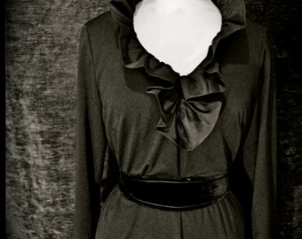 Black Vintage Dress with Ruffle neckline and cuffs