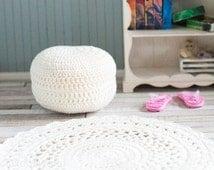 BJD pullip blythe miniature crochet ottoman natural white diorama roombox dollhouse accessorie, prop dollhouse