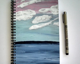 Hand Painted Spiral Journal; FREE SHIPPING; Wire Bound Blank Notebook; Writing Journal; Small Sketchbook; Horizon Acrylic Painting