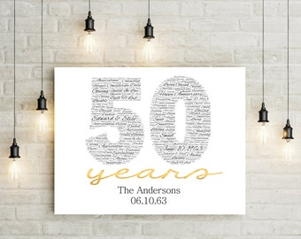 50th Anniversary Gift CANVAS- Golden Wedding Anniversary Gift50th ...