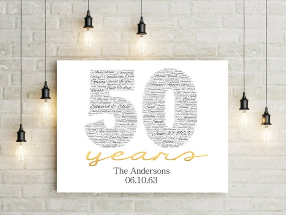 Wedding Gift Ideas For Close Friends: 50th Anniversary Gift CANVAS Golden Wedding Anniversary Gift