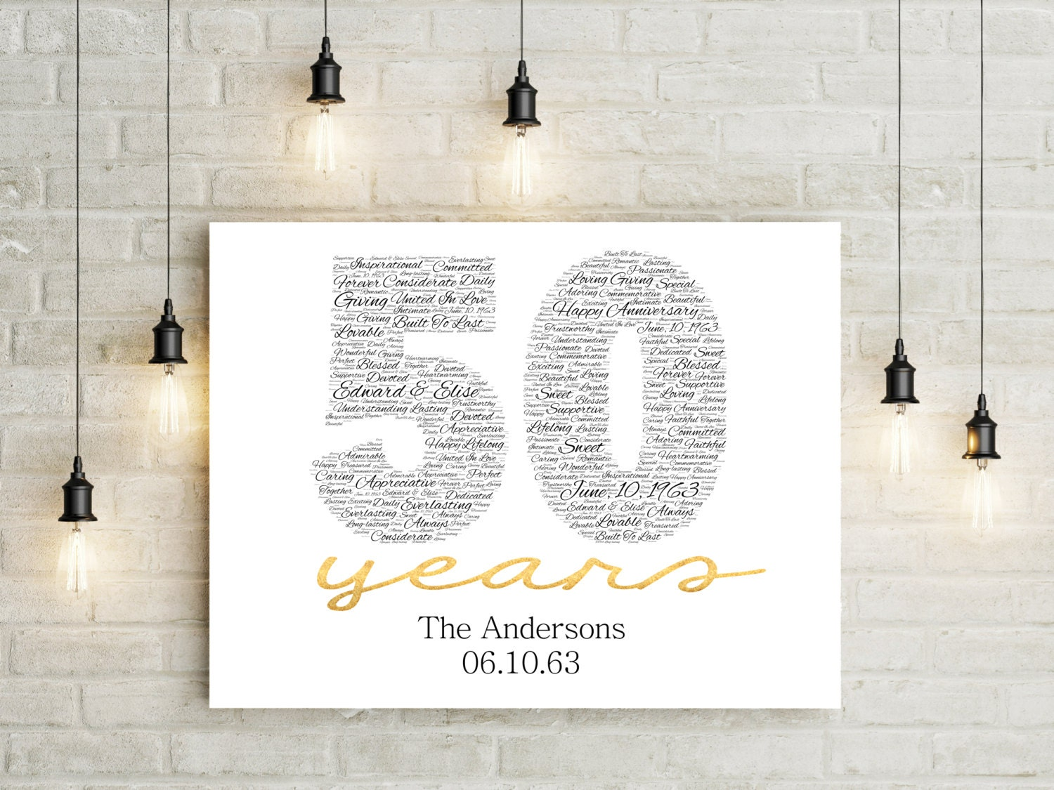 Gifts For Fiftieth Wedding Anniversary: 50th Anniversary Gift CANVAS Golden Wedding Anniversary Gift