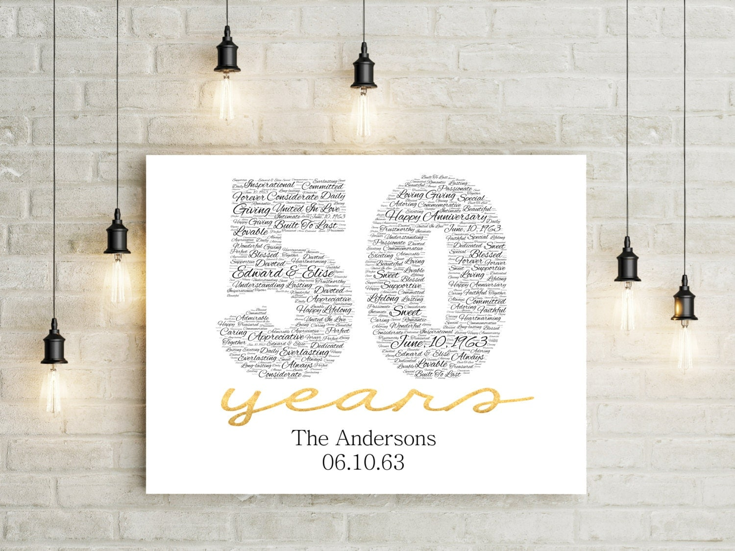 Fiftieth Wedding Anniversary Gifts: 50th Anniversary Gift CANVAS Golden Wedding Anniversary Gift