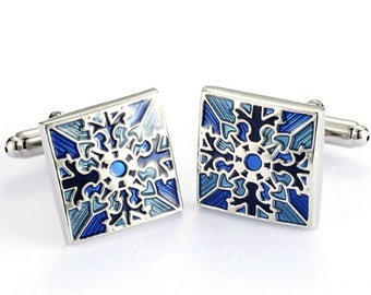 Portugal azulejo cuff links, Portuguese tiles cuff links, Portuguese jewelry, gift for him, Portuguese majolica antique tiles recreation