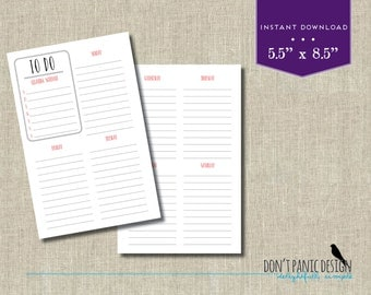 Red Printable Weekly To-Do Half Page - Planner Sheet - Menu Planner - Homework Planner - Task Planner - Appointment Planner