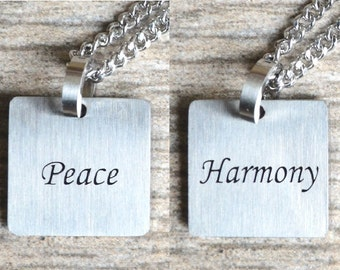 Peace & Harmony - Inspirational / Expressional Double Sided Necklace Pendant Jewelry, Stainless Steel